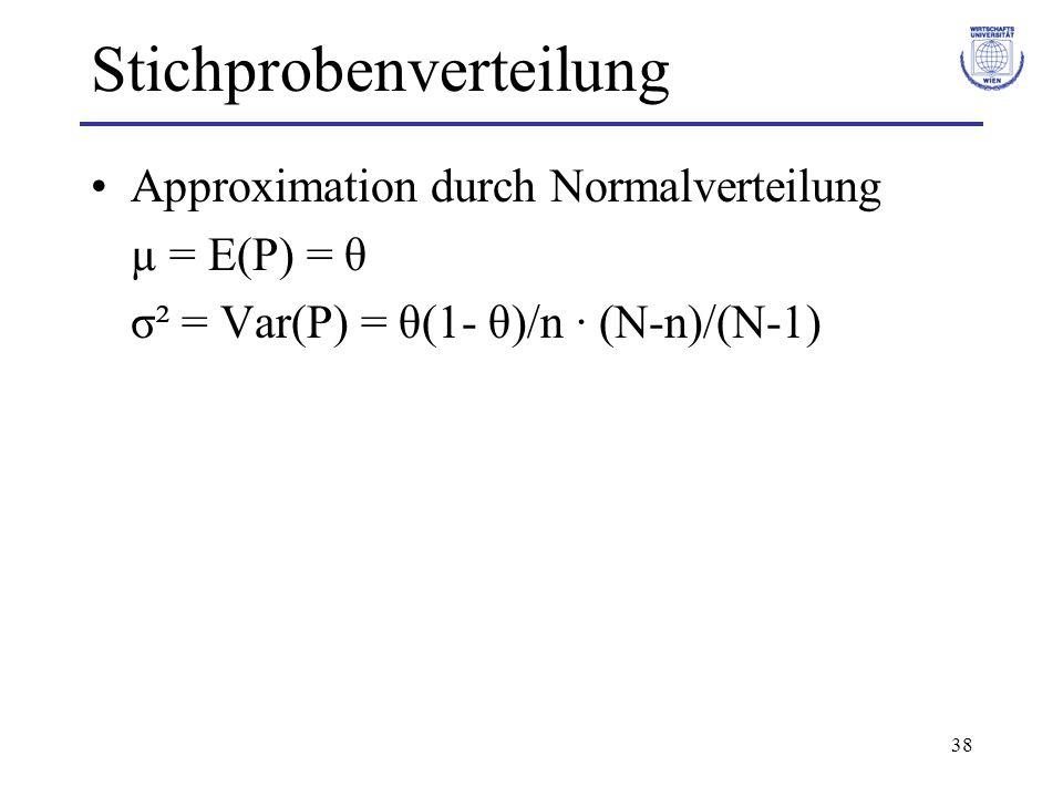38 Stichprobenverteilung Approximation durch Normalverteilung µ = E(P) = θ σ² = Var(P) = θ(1- θ)/n · (N-n)/(N-1)