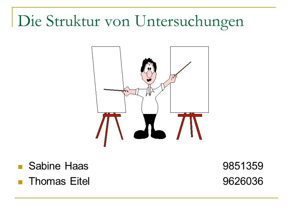 Die Struktur von Untersuchungen Sabine Haas9851359 Thomas Eitel9626036