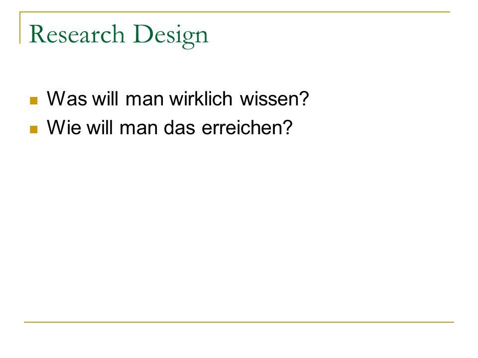 Research Design Was will man wirklich wissen? Wie will man das erreichen?