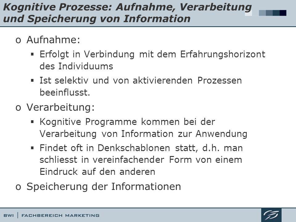 Kognitive Prozesse: Aufnahme, Verarbeitung und Speicherung von Information oAufnahme: Erfolgt in Verbindung mit dem Erfahrungshorizont des Individuums
