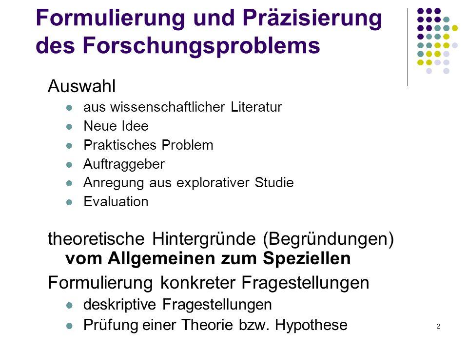 2 Formulierung und Präzisierung des Forschungsproblems Auswahl aus wissenschaftlicher Literatur Neue Idee Praktisches Problem Auftraggeber Anregung au