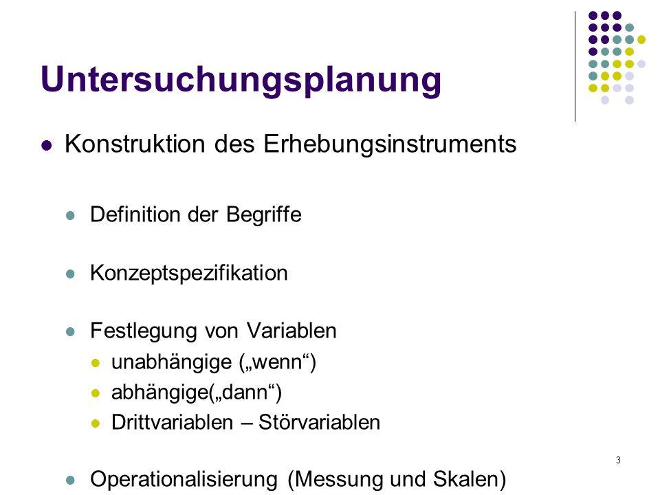 3 Untersuchungsplanung Konstruktion des Erhebungsinstruments Definition der Begriffe Konzeptspezifikation Festlegung von Variablen unabhängige (wenn)
