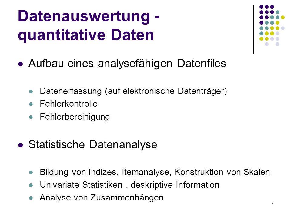 7 Datenauswertung - quantitative Daten Aufbau eines analysefähigen Datenfiles Datenerfassung (auf elektronische Datenträger) Fehlerkontrolle Fehlerber