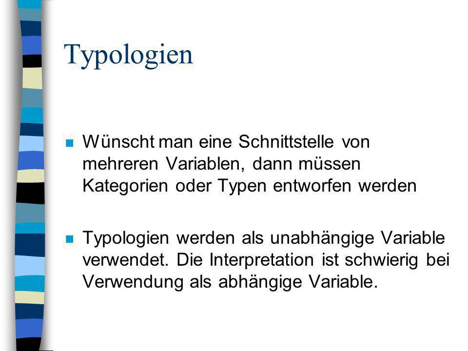 Typologien n Wünscht man eine Schnittstelle von mehreren Variablen, dann müssen Kategorien oder Typen entworfen werden n Typologien werden als unabhän