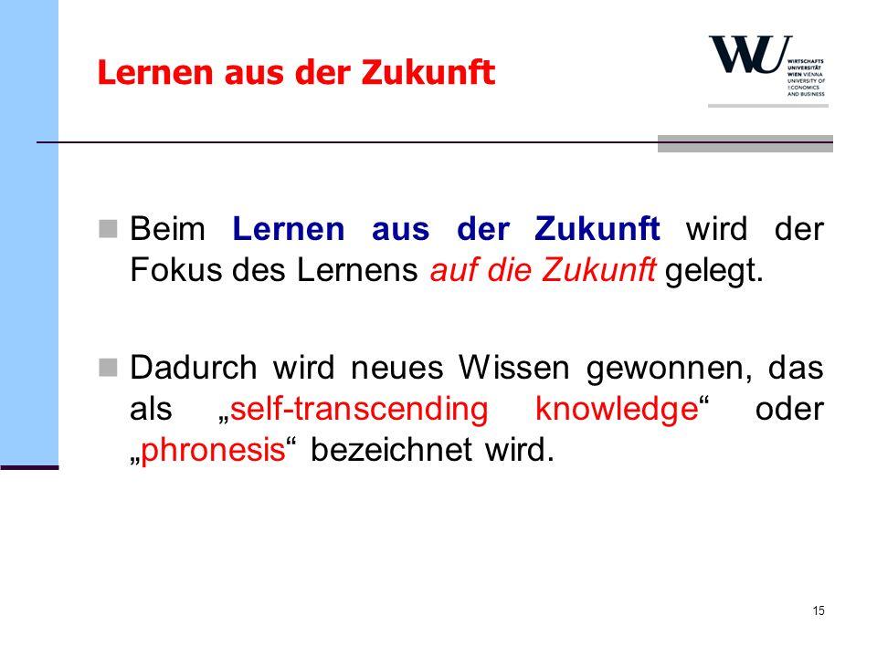 15 Beim Lernen aus der Zukunft wird der Fokus des Lernens auf die Zukunft gelegt. Dadurch wird neues Wissen gewonnen, das als self-transcending knowle
