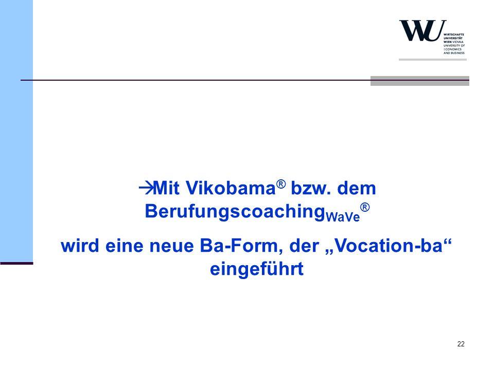 22 Mit Vikobama ® bzw. dem Berufungscoaching WaVe ® wird eine neue Ba-Form, der Vocation-ba eingeführt