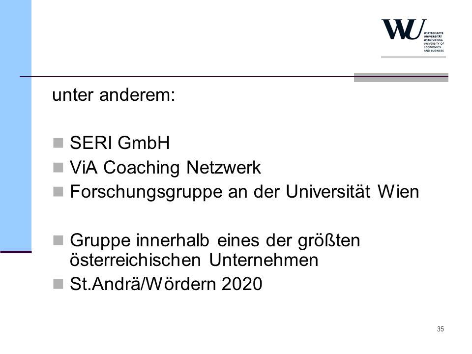 35 unter anderem: SERI GmbH ViA Coaching Netzwerk Forschungsgruppe an der Universität Wien Gruppe innerhalb eines der größten österreichischen Unterne