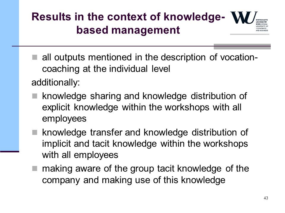 43 Results in the context of knowledge- based management all outputs mentioned in the description of vocation- coaching at the individual level additi