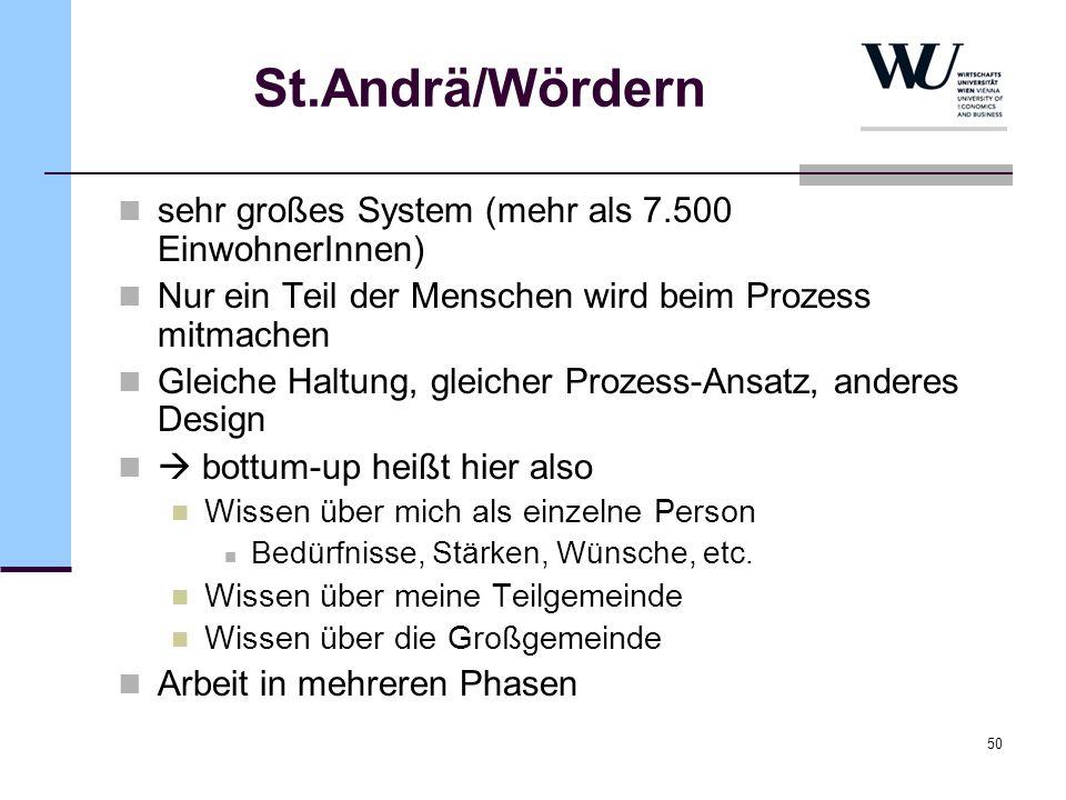 50 St.Andrä/Wördern sehr großes System (mehr als 7.500 EinwohnerInnen) Nur ein Teil der Menschen wird beim Prozess mitmachen Gleiche Haltung, gleicher