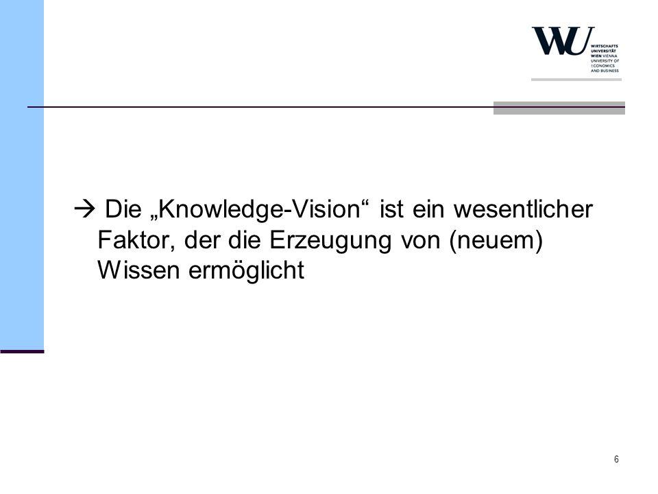 6 Die Knowledge-Vision ist ein wesentlicher Faktor, der die Erzeugung von (neuem) Wissen ermöglicht