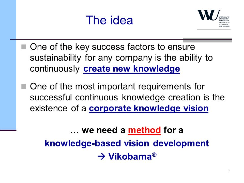 9 Vikobama ® (Vision development and knowledge- based management) … is a process model for developing a knowledge- based vision in a company … integrates the individual visions of the employees into the overall vision of the company … is the implementation of a radical bottom-up approach on the collective level … gives a special attention to the creation of self- transcending knowledge … supports a learning from the future approach … supports the transformation from implicit knowledge to explicit knowledge … supports the sharing of knowledge within a company (system)