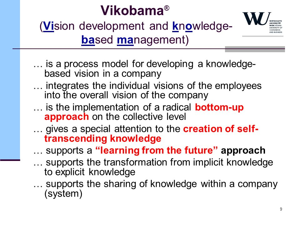 9 Vikobama ® (Vision development and knowledge- based management) … is a process model for developing a knowledge- based vision in a company … integra