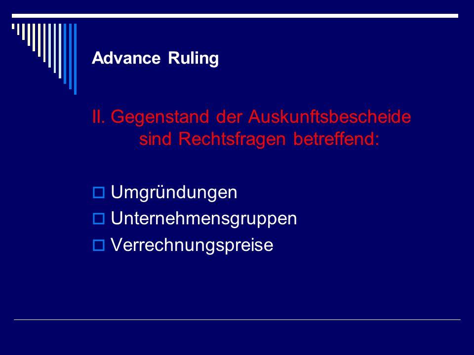 Advance Ruling - Kosten VIII.
