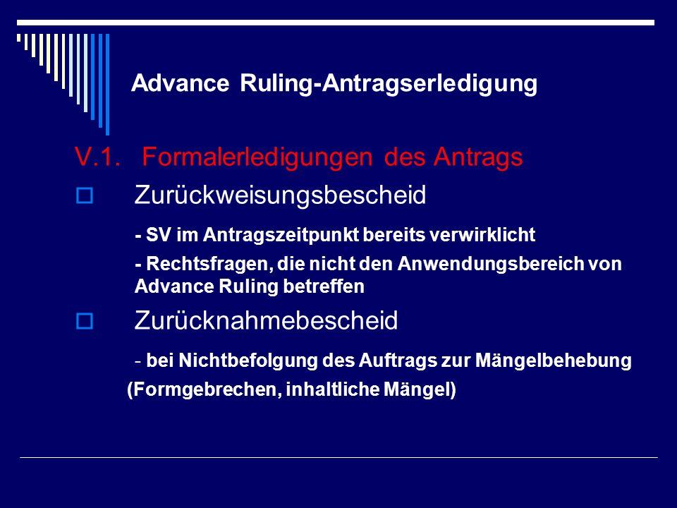 Advance Ruling-Antragserledigung V.1. Formalerledigungen des Antrags Zurückweisungsbescheid - SV im Antragszeitpunkt bereits verwirklicht - Rechtsfrag