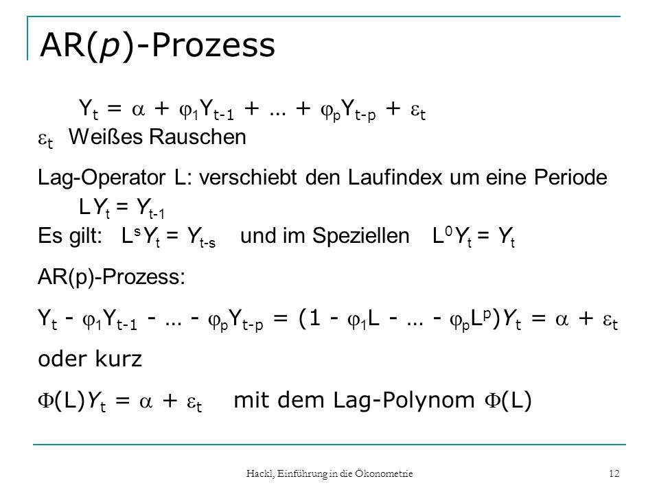 Hackl, Einführung in die Ökonometrie 12 AR(p)-Prozess Y t = + 1 Y t-1 + … + p Y t-p + t t Weißes Rauschen Lag-Operator L: verschiebt den Laufindex um