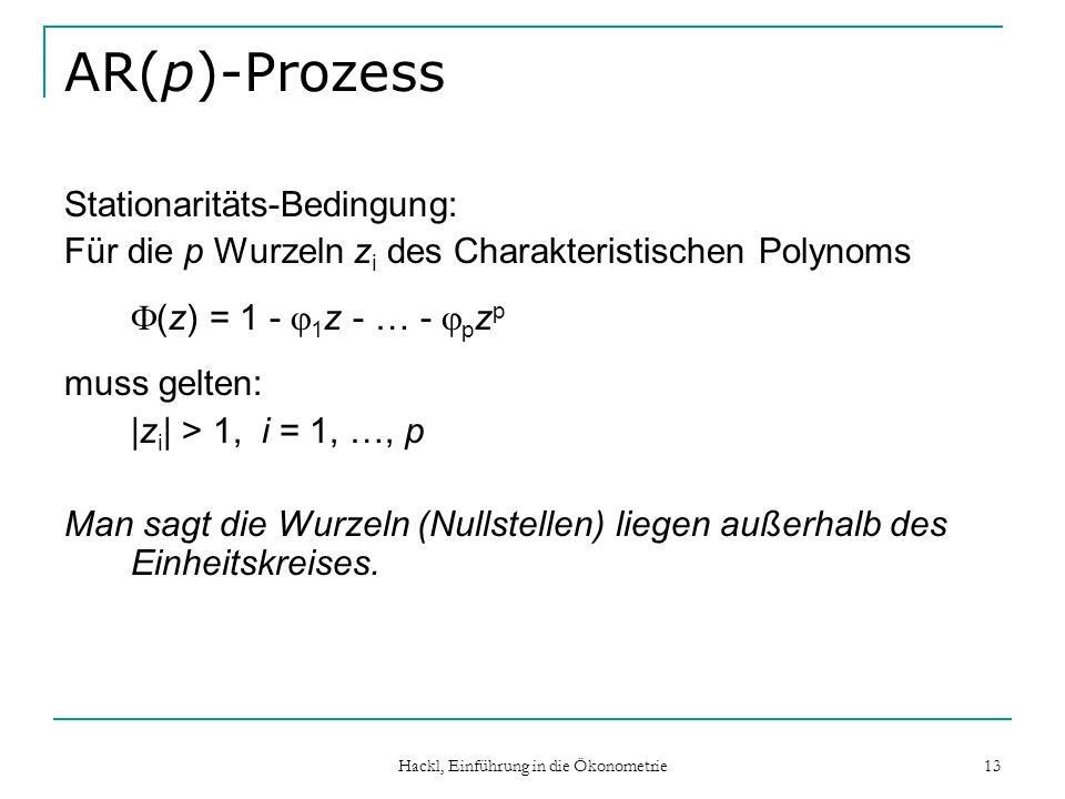 Hackl, Einführung in die Ökonometrie 13 AR(p)-Prozess Stationaritäts-Bedingung: Für die p Wurzeln z i des Charakteristischen Polynoms (z) = 1 - 1 z -