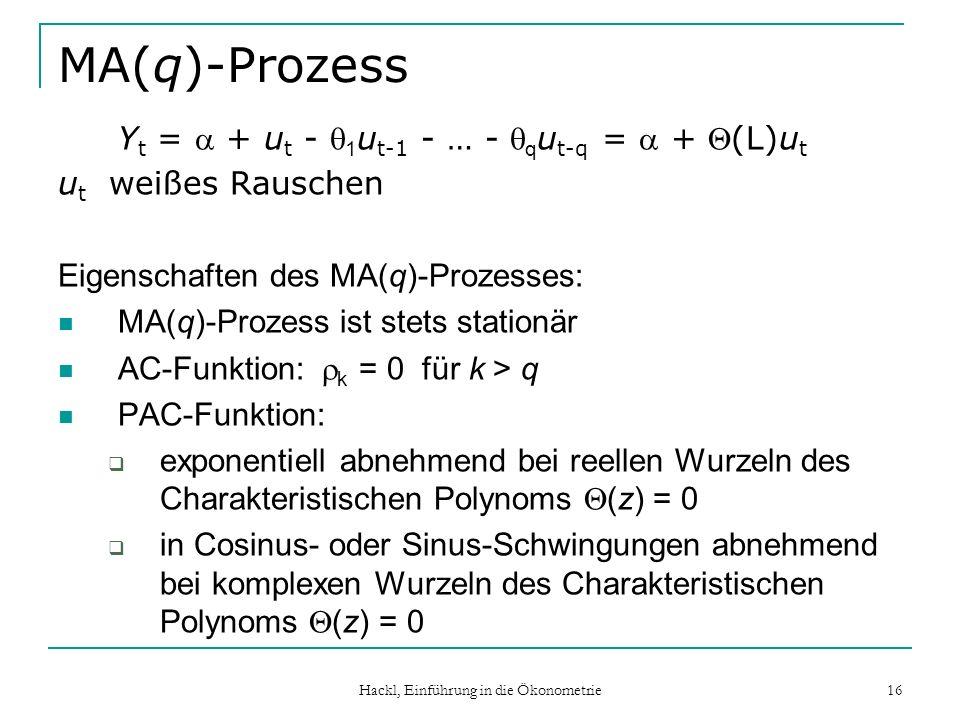 Hackl, Einführung in die Ökonometrie 16 MA(q)-Prozess Y t = + u t - 1 u t-1 - … - q u t-q = + (L)u t u t weißes Rauschen Eigenschaften des MA(q)-Proze