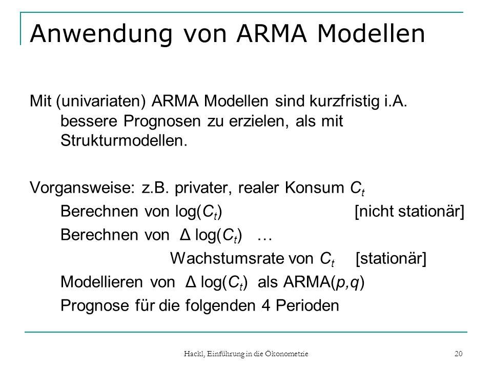 Hackl, Einführung in die Ökonometrie 20 Anwendung von ARMA Modellen Mit (univariaten) ARMA Modellen sind kurzfristig i.A. bessere Prognosen zu erziele