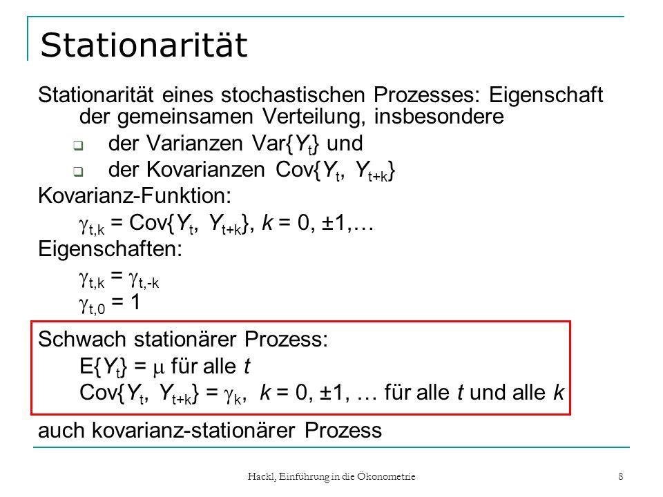 Hackl, Einführung in die Ökonometrie 9 AC- und PAC-Funktion Autokorrelations-Funktion (AC-Funktion) ist von Skalierung von Y unabhängig; für stationären Prozess : k = k / 0, k =..., -1, 0, +1,… Eigenschaften:   k   1 k = -k 0 = 1 Korrelogramm: graphische Darstellung der AC-Funktion Partielle Autokorrelations-Funktion (PAC-Funktion): kk = Corr(Y t, Y t-k  Y t-1,...,Y t-k+1 ), k =..., -1, 0, +1, … kk ergibt sich aus Y t = k0 + k1 Y t-1 +...