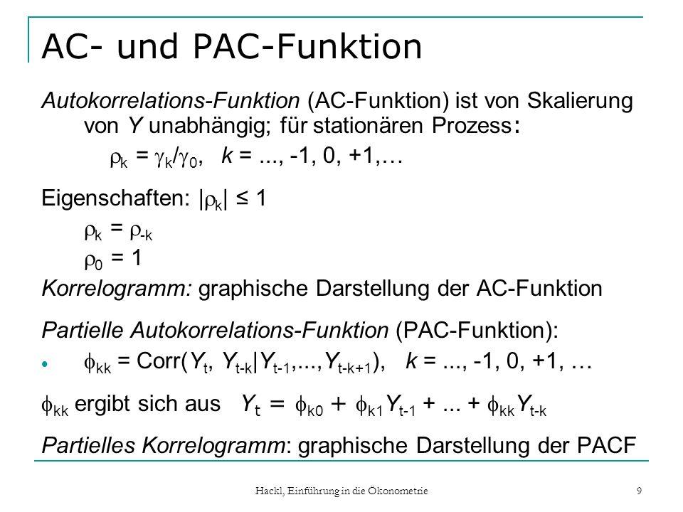 Hackl, Einführung in die Ökonometrie 9 AC- und PAC-Funktion Autokorrelations-Funktion (AC-Funktion) ist von Skalierung von Y unabhängig; für stationär