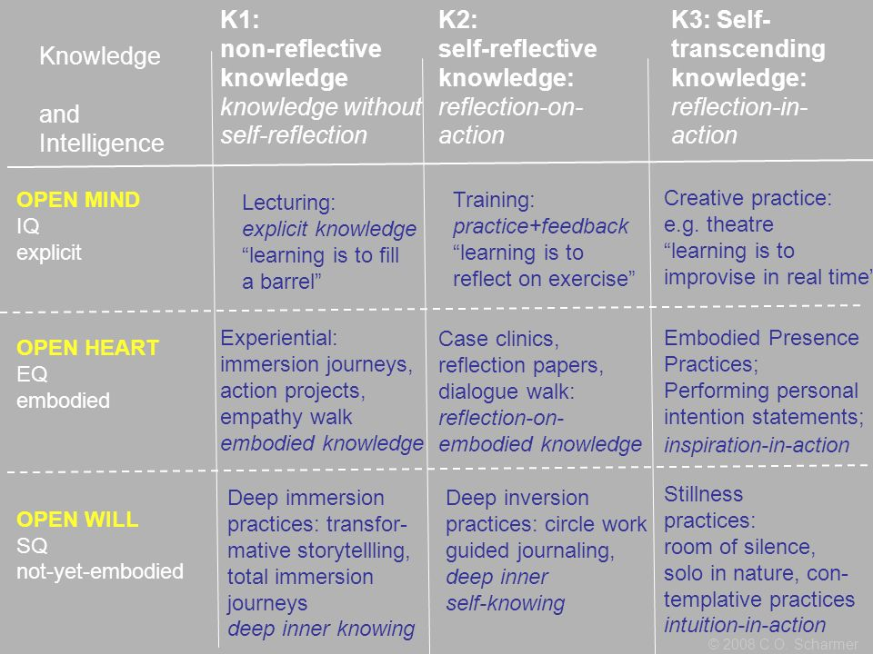 Knowledge and Intelligence K1: non-reflective knowledge knowledge without self-reflection K2: self-reflective knowledge: reflection-on- action K3: Sel