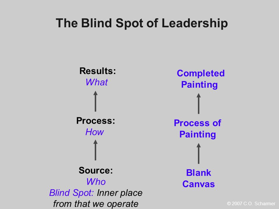 Source: Who Blind Spot: Inner place from that we operate Process: How Results: What Blank Canvas Process of Painting Completed Painting The Blind Spot
