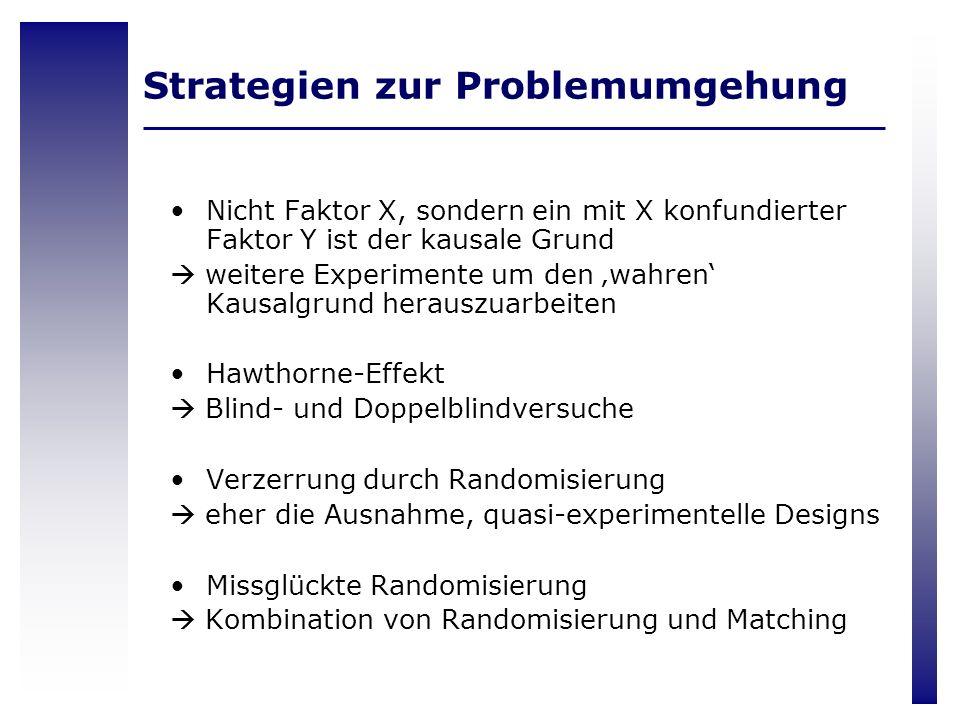 Strategien zur Problemumgehung Nicht Faktor X, sondern ein mit X konfundierter Faktor Y ist der kausale Grund weitere Experimente um den wahren Kausal