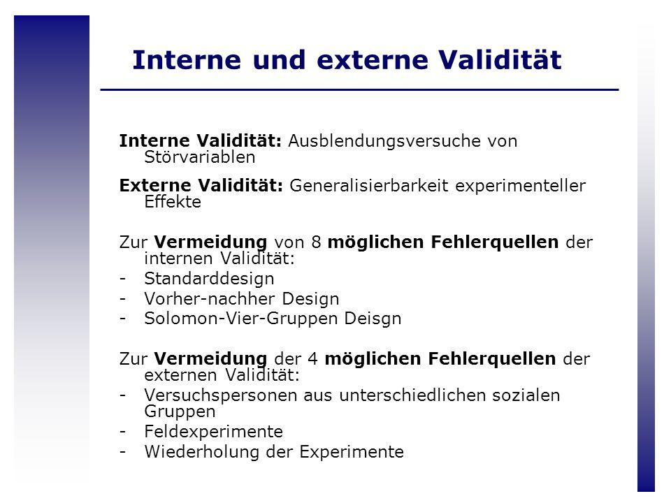 Interne und externe Validität Interne Validität: Ausblendungsversuche von Störvariablen Externe Validität: Generalisierbarkeit experimenteller Effekte