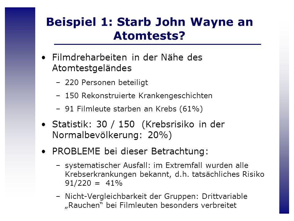 Beispiel 1: Starb John Wayne an Atomtests? Filmdreharbeiten in der Nähe des Atomtestgeländes –220 Personen beteiligt –150 Rekonstruierte Krankengeschi