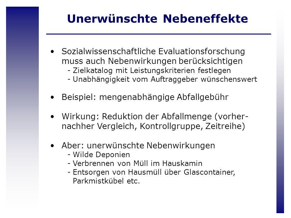 Sozialwissenschaftliche Evaluationsforschung muss auch Nebenwirkungen berücksichtigen -Zielkatalog mit Leistungskriterien festlegen -Unabhängigkeit vo