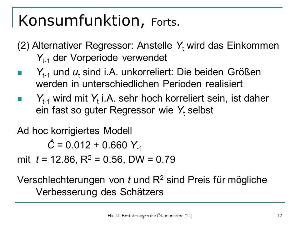 Hackl, Einführung in die Ökonometrie (15) 12 Konsumfunktion, Forts. (2) Alternativer Regressor: Anstelle Y t wird das Einkommen Y t-1 der Vorperiode v