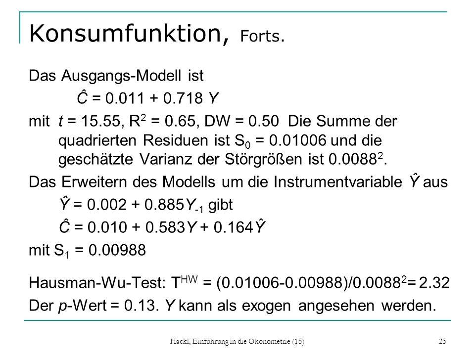 Hackl, Einführung in die Ökonometrie (15) 25 Konsumfunktion, Forts. Das Ausgangs-Modell ist Ĉ = 0.011 + 0.718 Y mit t = 15.55, R 2 = 0.65, DW = 0.50 D