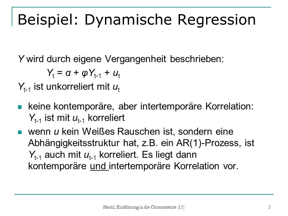Hackl, Einführung in die Ökonometrie (15) 5 Beispiel: Dynamische Regression Y wird durch eigene Vergangenheit beschrieben: Y t = α + φY t-1 + u t Y t-