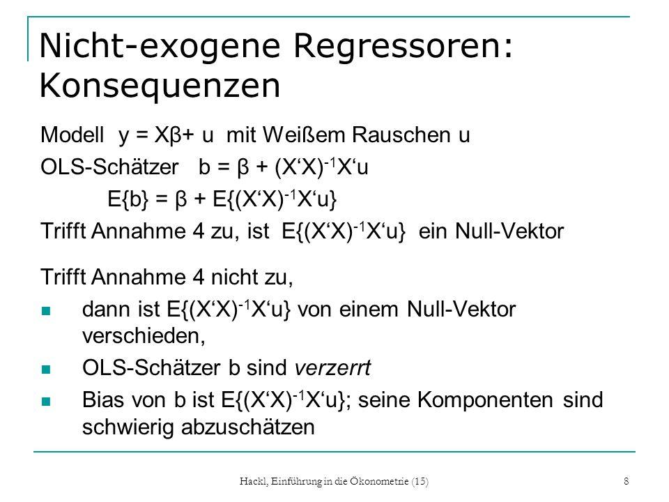 Hackl, Einführung in die Ökonometrie (15) 8 Nicht-exogene Regressoren: Konsequenzen Modell y = Xβ+ u mit Weißem Rauschen u OLS-Schätzer b = β + (XX) -