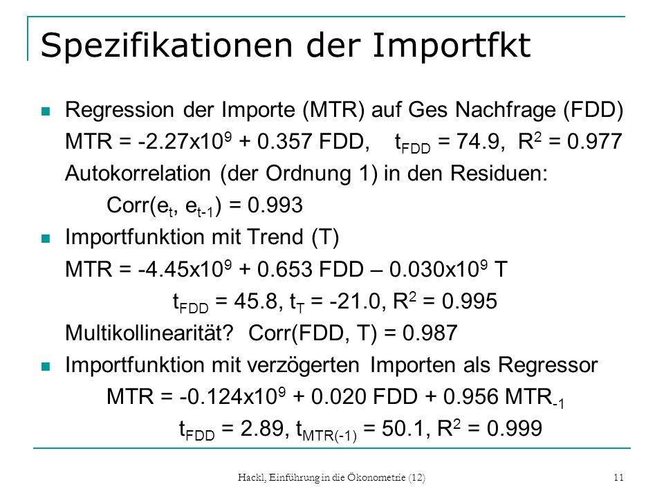 Hackl, Einführung in die Ökonometrie (12) 11 Spezifikationen der Importfkt Regression der Importe (MTR) auf Ges Nachfrage (FDD) MTR = -2.27x10 9 + 0.3