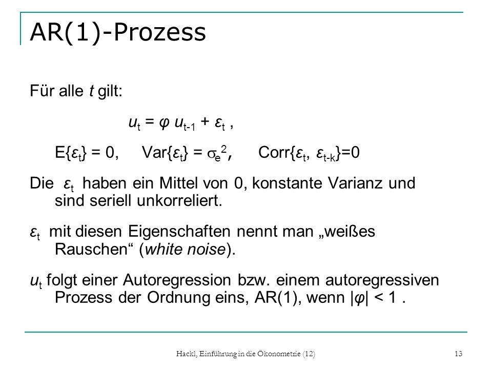 Hackl, Einführung in die Ökonometrie (12) 13 AR(1)-Prozess Für alle t gilt: u t = φ u t-1 + ε t, E{ε t } = 0, Var{ε t } = e 2, Corr{ε t, ε t-k }=0 Die