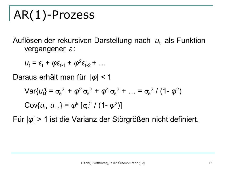 Hackl, Einführung in die Ökonometrie (12) 14 AR(1)-Prozess Auflösen der rekursiven Darstellung nach u t als Funktion vergangener ε : u t = ε t + φε t-