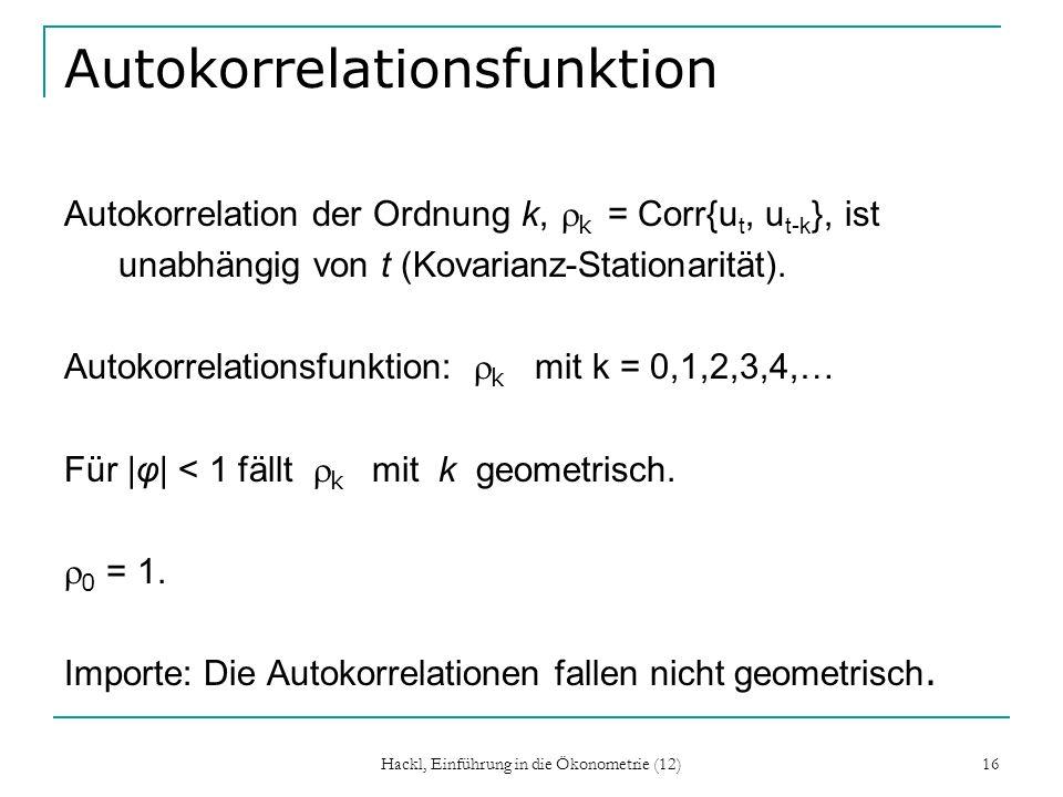 Hackl, Einführung in die Ökonometrie (12) 16 Autokorrelationsfunktion Autokorrelation der Ordnung k, k = Corr{u t, u t-k }, ist unabhängig von t (Kova