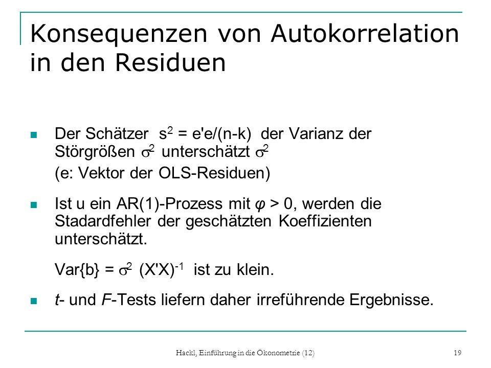 Hackl, Einführung in die Ökonometrie (12) 19 Konsequenzen von Autokorrelation in den Residuen Der Schätzer s 2 = e'e/(n-k) der Varianz der Störgrößen