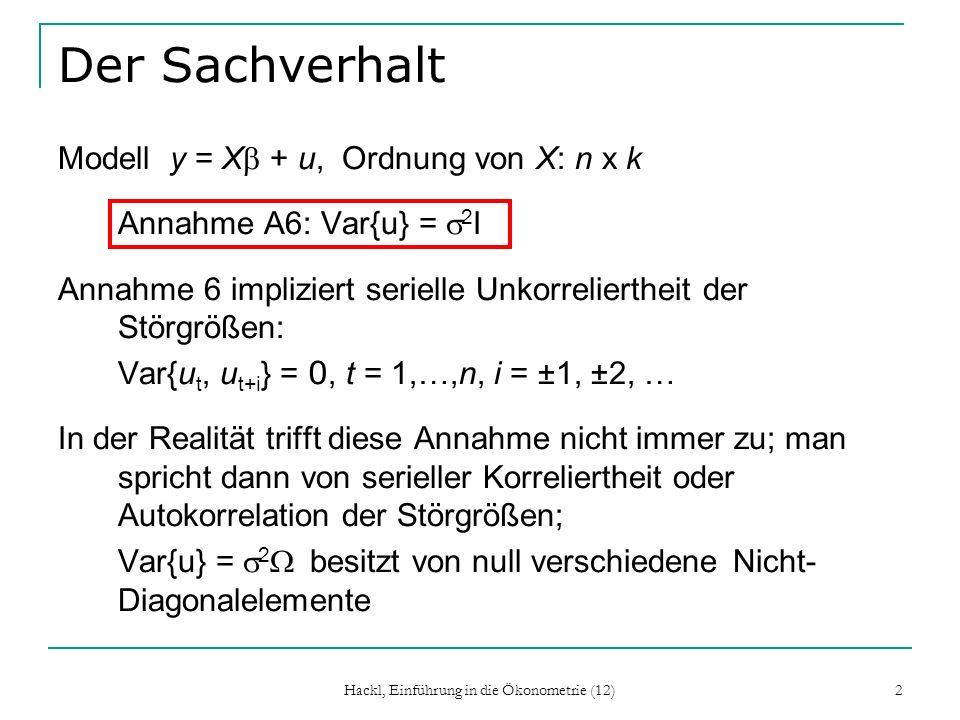 Hackl, Einführung in die Ökonometrie (12) 13 AR(1)-Prozess Für alle t gilt: u t = φ u t-1 + ε t, E{ε t } = 0, Var{ε t } = e 2, Corr{ε t, ε t-k }=0 Die ε t haben ein Mittel von 0, konstante Varianz und sind seriell unkorreliert.