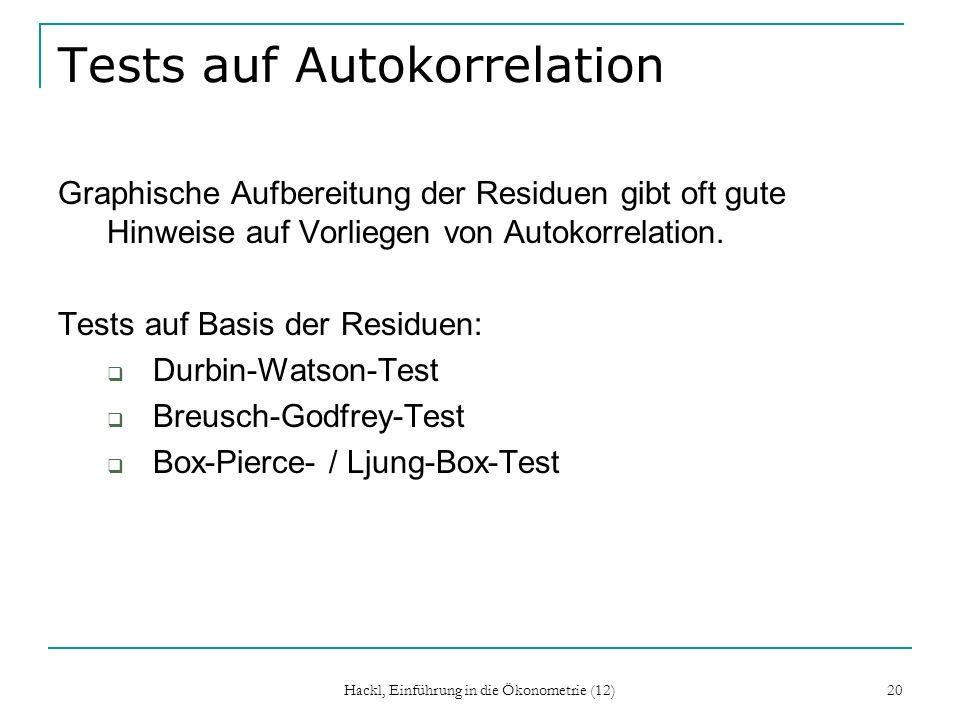 Hackl, Einführung in die Ökonometrie (12) 20 Tests auf Autokorrelation Graphische Aufbereitung der Residuen gibt oft gute Hinweise auf Vorliegen von A