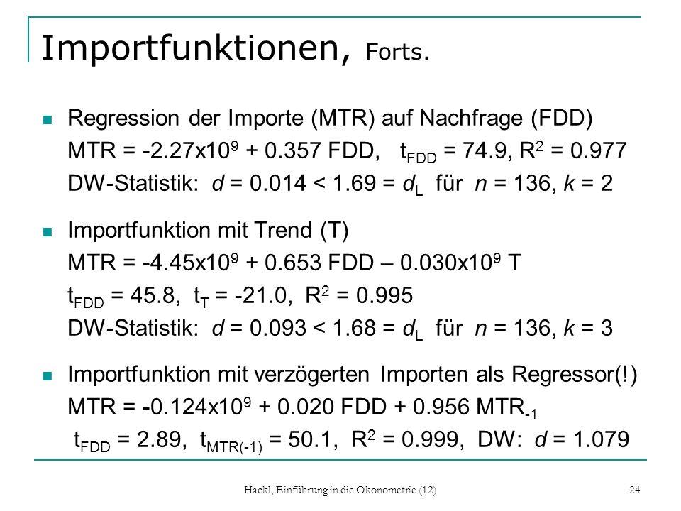 Hackl, Einführung in die Ökonometrie (12) 24 Importfunktionen, Forts. Regression der Importe (MTR) auf Nachfrage (FDD) MTR = -2.27x10 9 + 0.357 FDD, t