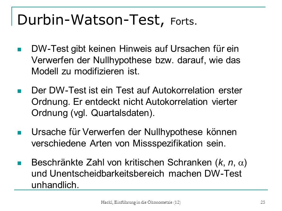 Hackl, Einführung in die Ökonometrie (12) 25 Durbin-Watson-Test, Forts. DW-Test gibt keinen Hinweis auf Ursachen für ein Verwerfen der Nullhypothese b