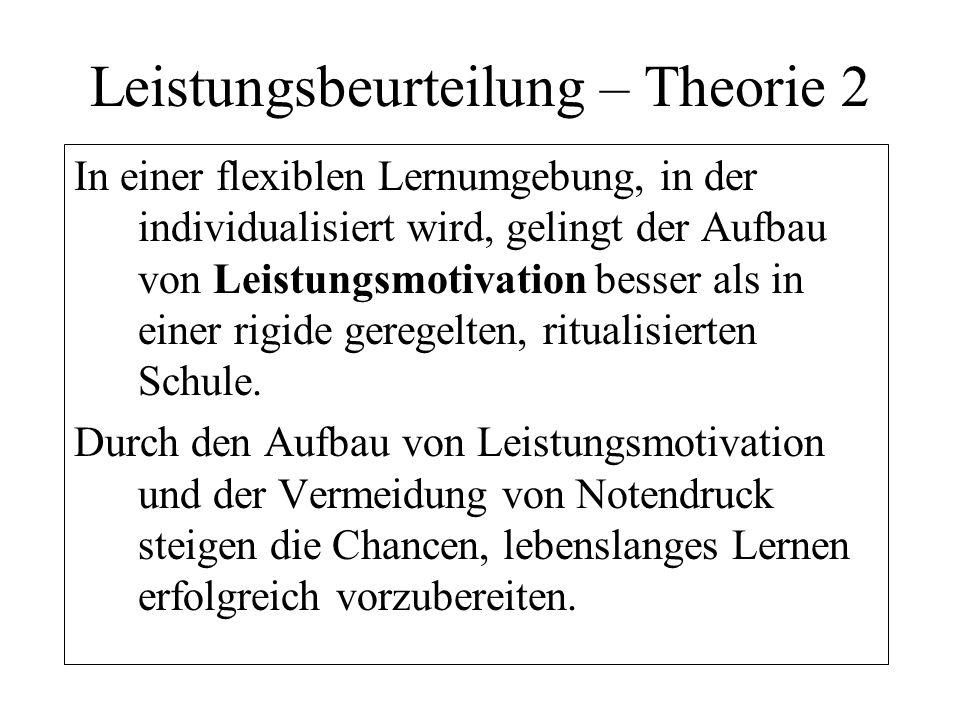 Leistungsbeurteilung – Theorie 2 In einer flexiblen Lernumgebung, in der individualisiert wird, gelingt der Aufbau von Leistungsmotivation besser als