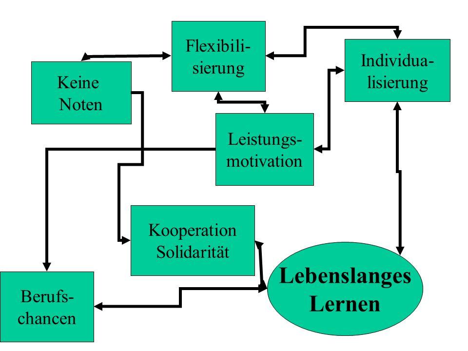 Keine Noten Lebenslanges Lernen Flexibili- sierung Individua- lisierung Kooperation Solidarität Leistungs- motivation Berufs- chancen