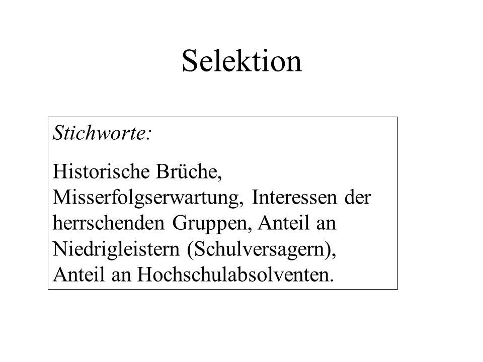 Selektion Stichworte: Historische Brüche, Misserfolgserwartung, Interessen der herrschenden Gruppen, Anteil an Niedrigleistern (Schulversagern), Antei
