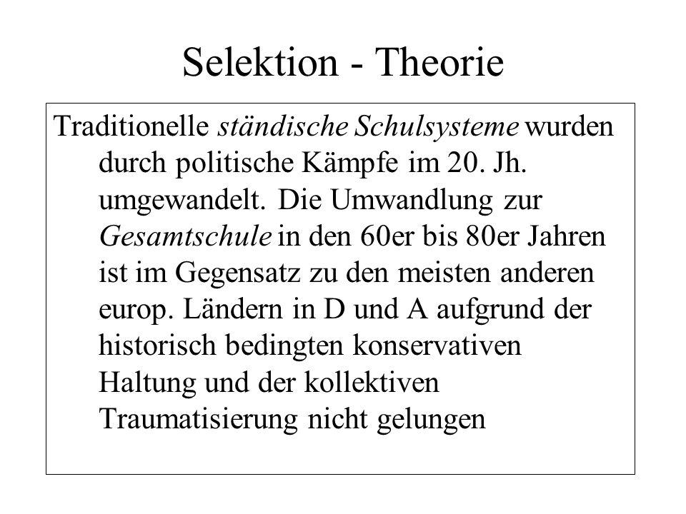 Selektion - Theorie Traditionelle ständische Schulsysteme wurden durch politische Kämpfe im 20. Jh. umgewandelt. Die Umwandlung zur Gesamtschule in de