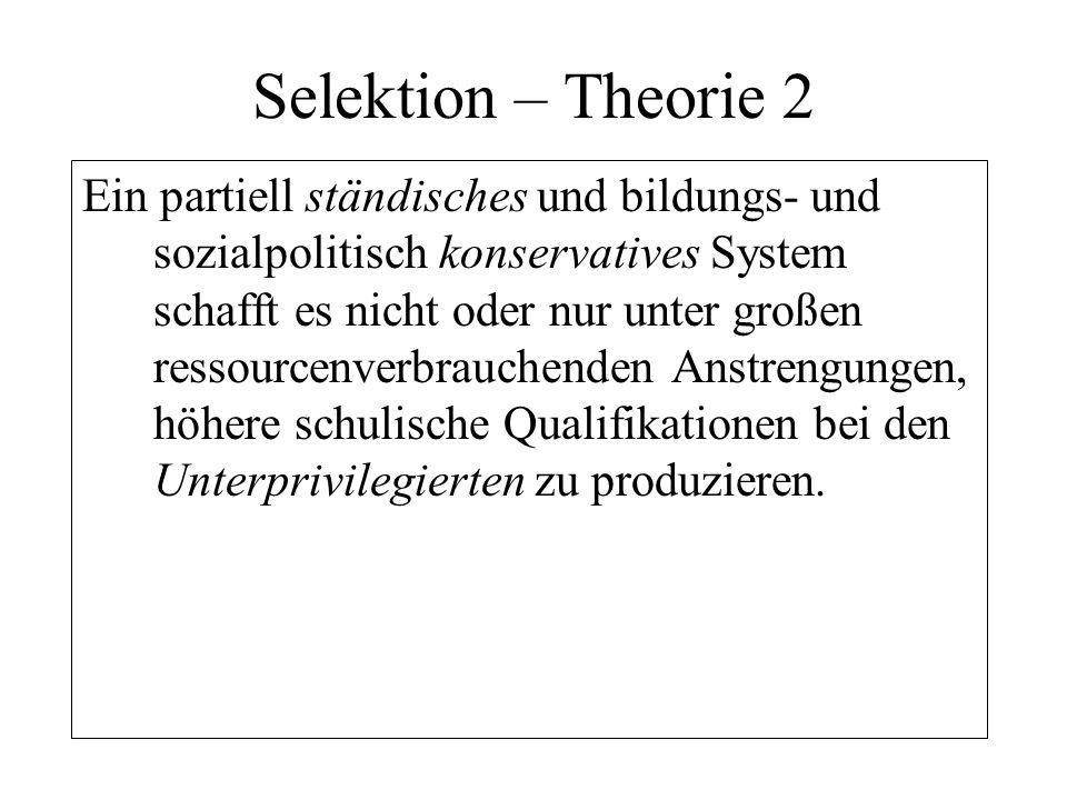 Selektion – Theorie 2 Ein partiell ständisches und bildungs- und sozialpolitisch konservatives System schafft es nicht oder nur unter großen ressource