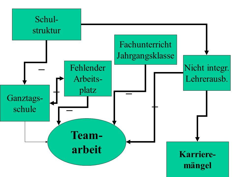 Schul- struktur Team- arbeit Nicht integr. Lehrerausb. Fachunterricht Jahrgangsklasse Karriere- mängel Ganztags- schule Fehlender Arbeits- platz _ _ _