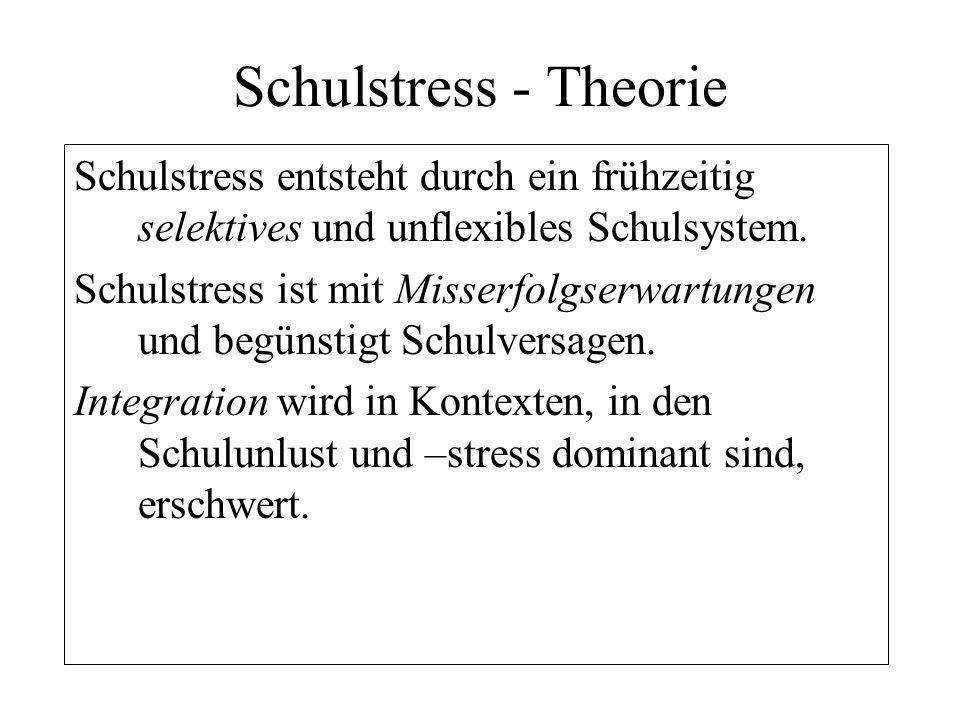 Schulstress - Theorie Schulstress entsteht durch ein frühzeitig selektives und unflexibles Schulsystem. Schulstress ist mit Misserfolgserwartungen und